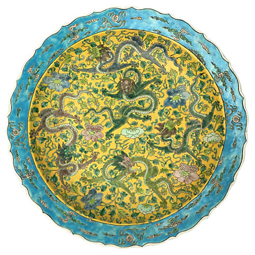 Oversize Chinoiserie Bowl w/ Dragons
