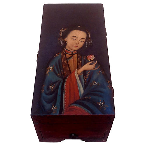 Antique Jewelry Box w/ Geisha