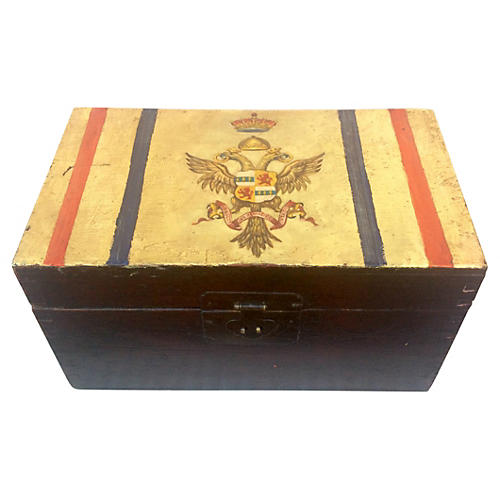 Hand-Painted Imperial Eagle Wood Box