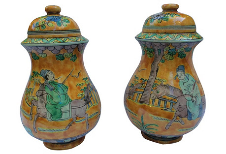 Hand-Painted Chinese Emperor Jars, Pair