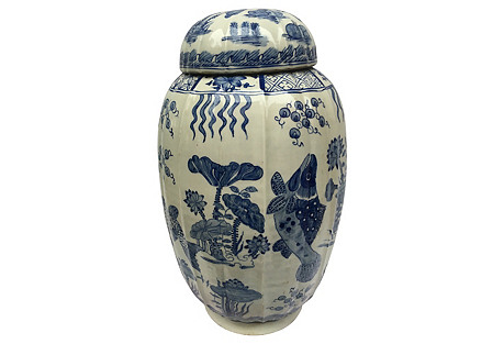 Blue & White Ginger Jar w/   Fish