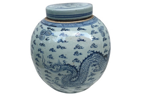 Blue & White Dragon  Ginger  Jar