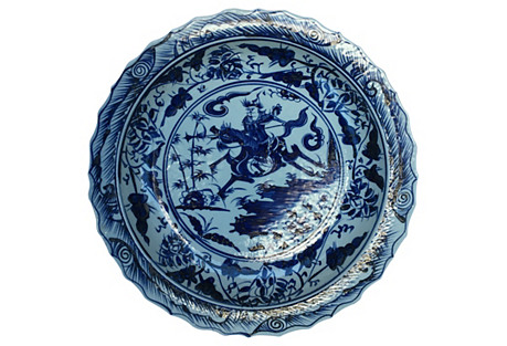 Blue & White  Chinese Oversize Bowl