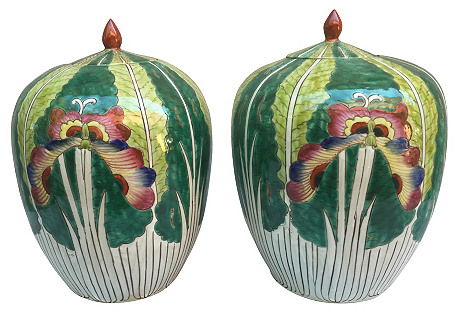 Lotus Flower Ginger Jars, Pair