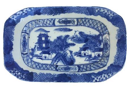 Blue  & White Chinese Stoneware Platter