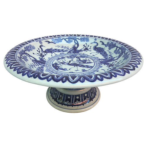 Blue & White Peacock Pedestal Bowl