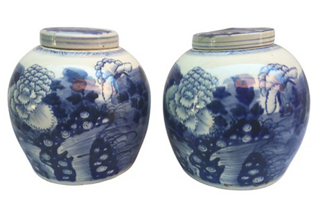 Blue & White Chinese Floral Jars, Pair