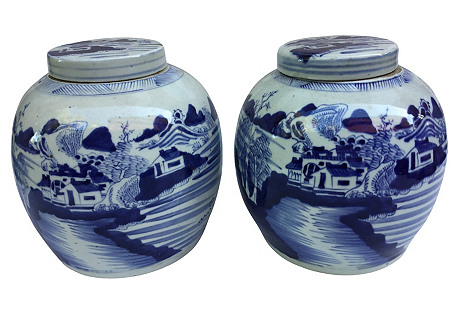 Chinese Countryside Ginger Jars, S/2