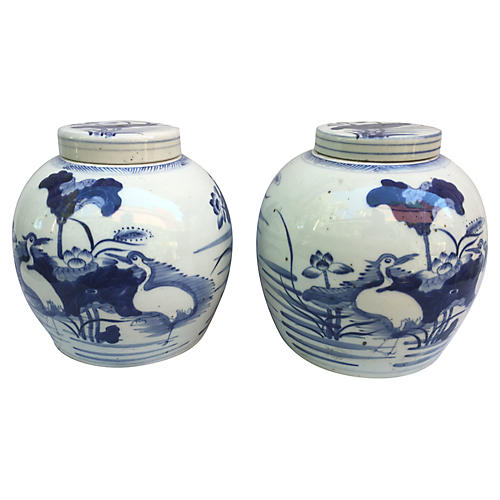 Chinese Ginger Jars w/ Cranes, Pair