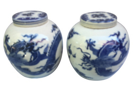 Blue & White Ginger Jars W/ Dragons, S/2