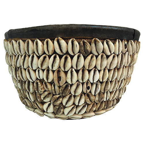 Tribal Cowry Shell Basket