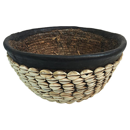 African Cowry Shell Tribal Basket