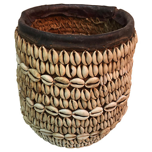 Nigerian Tribal Shell Basket