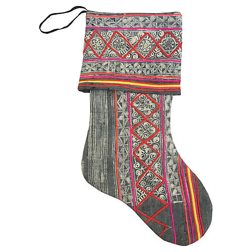 Hand-Blocked Red Batik Stocking