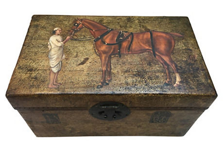 Hand-Painted Silk Road Leather Box