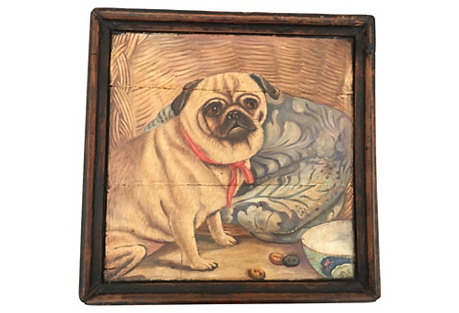 Rustic Wooden Tray W/ Pug Dog Painting