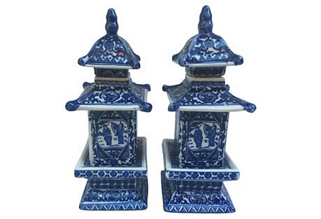 Blue & White Chinese Pagoda Vases,  S/2