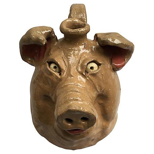 Southern Folk Art Pottery Pig Jug