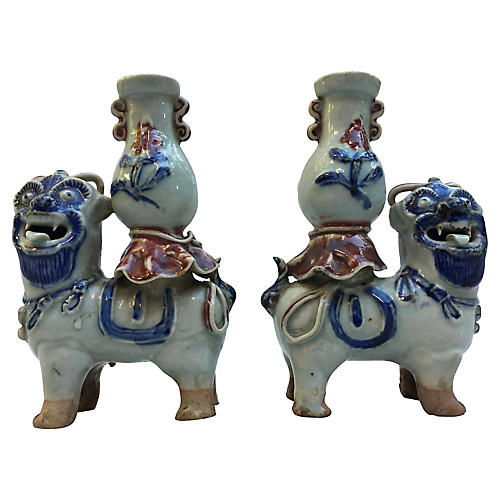 Foo Dog Vessels - A Pair