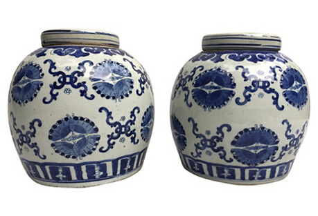 Blue & White Ginger Jars, The Pair
