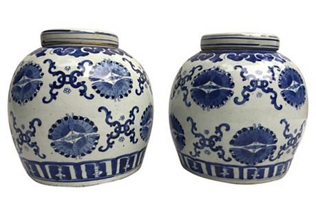 Blue & White Ginger Jars, The Pair