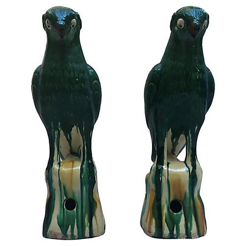 Majolica Parrots, Pair