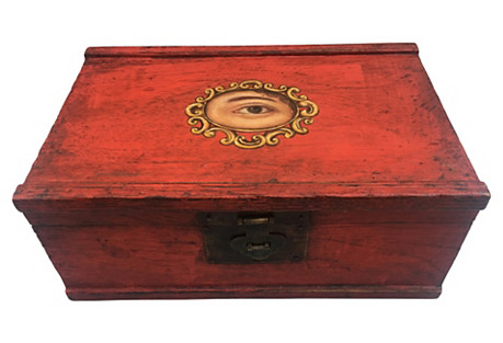 Chinese Red Lacquer Box W/ Painted Eye