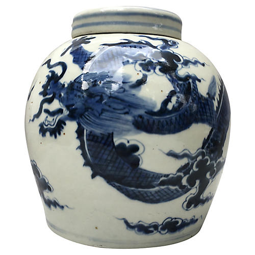 Blue & White Ginger Jar W/ Dragon