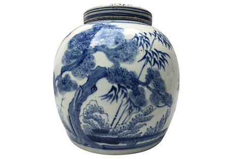 Blue & White Bamboo Tree Ginger Jar