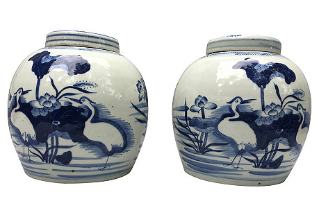 Chinese Crane Ginger Jars, S/2
