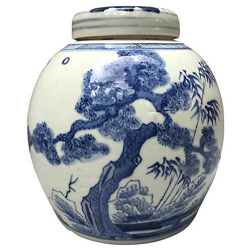 blue u0026 white ginger jar w bamboo tree