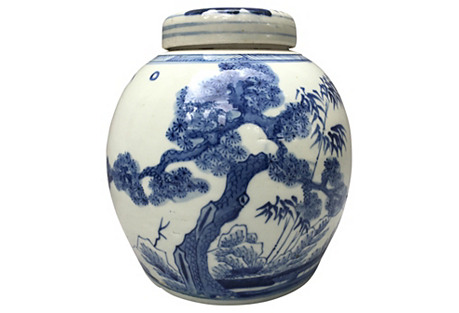 Blue & White Ginger Jar W/ Bamboo  Tree