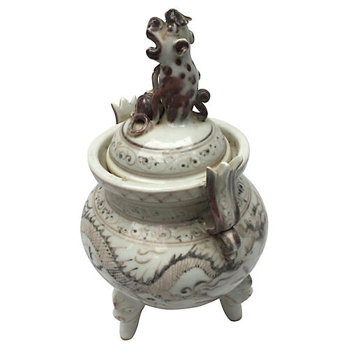 Chinese Dragon Vase w/Foo Dog Handle Lid