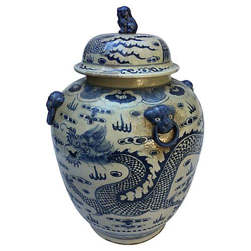 Chinese Foo Dog Dragon Ginger Jar