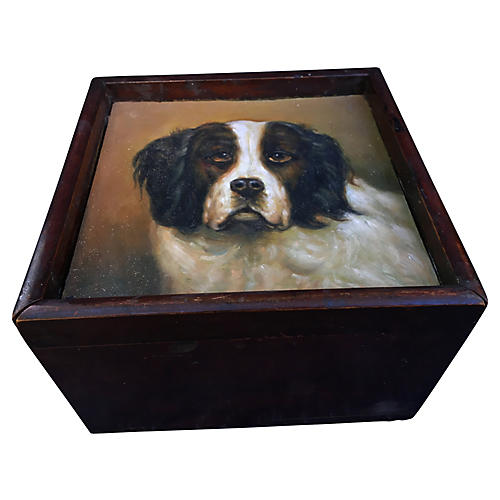 Vanity Shaving Box w/ Dog Portrait