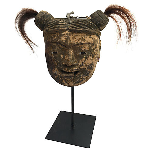 Burmese Puppet Head on Stand