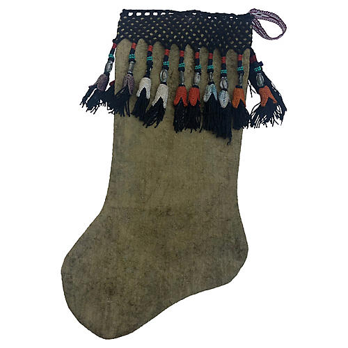 Velvet Xmas Stocking w/ Turkish Fringe