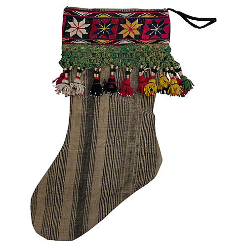 Striped Handwoven Linen X-mas Stocking