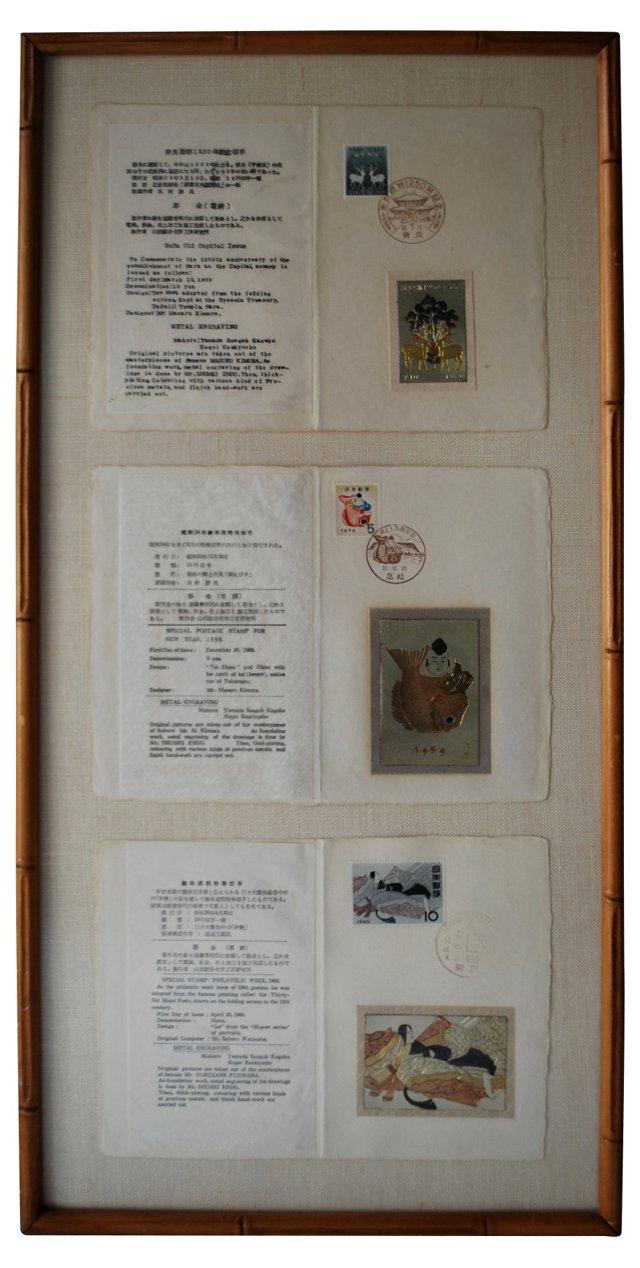 Framed Japanese  Engravings