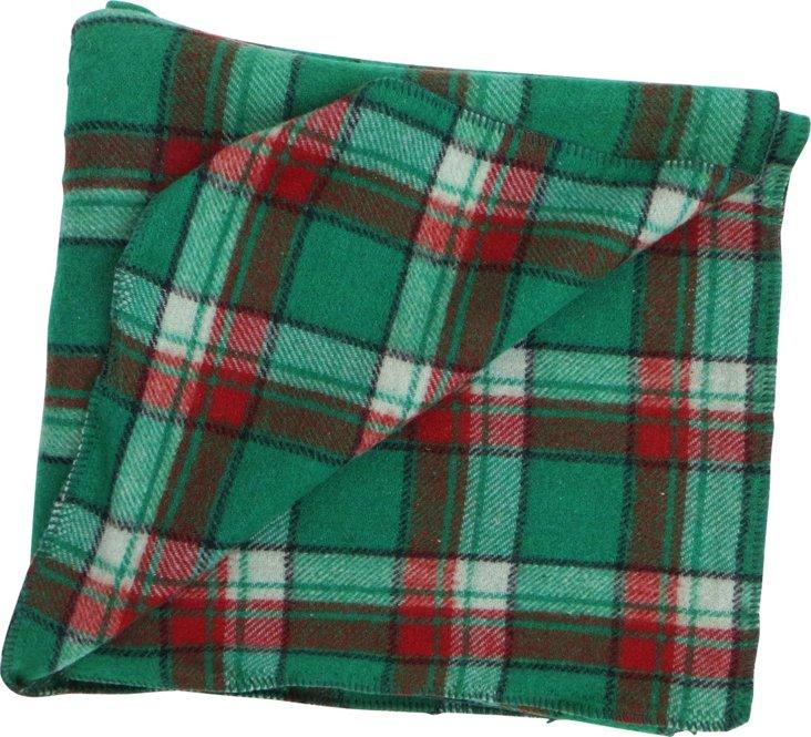 Green Plaid Wool Blanket