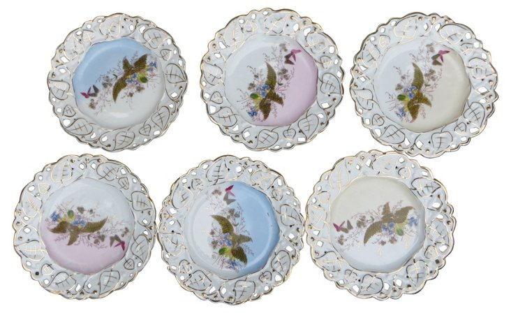 Hand-Painted Dessert Plates, S/6