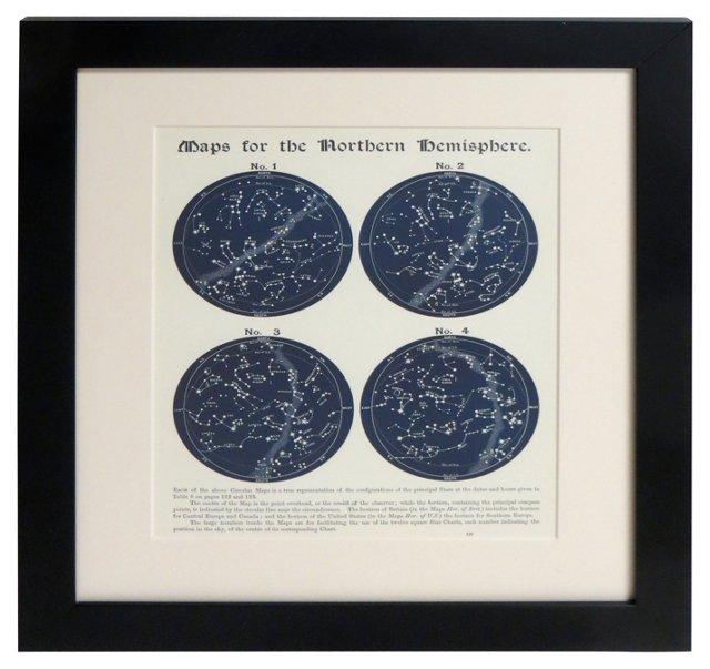 19th-C. N. Hemisphere Star Maps