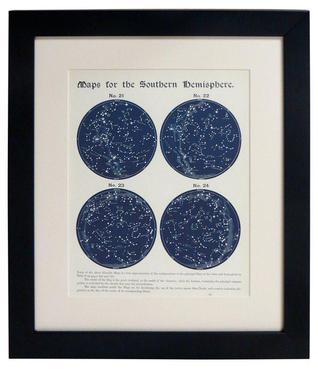 19th-C. S. Hemisphere Star Maps