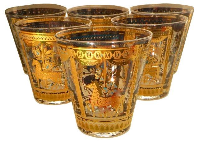 Gilded Carousel Horse Glasses, S/6