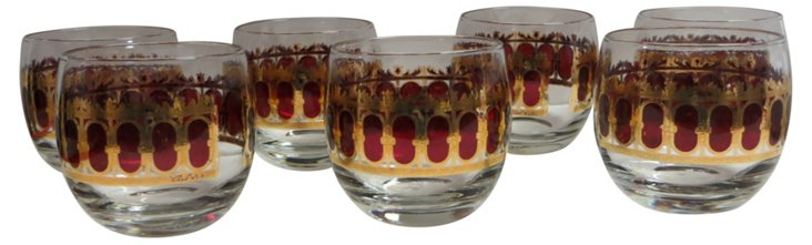 Ruby Red Culver Bar Glasses, S/7