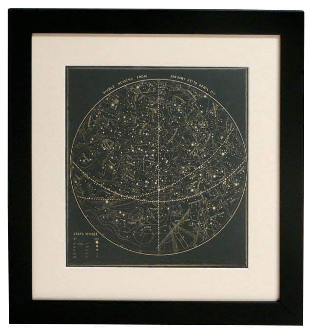 19th-C. Visible Sky Map, January