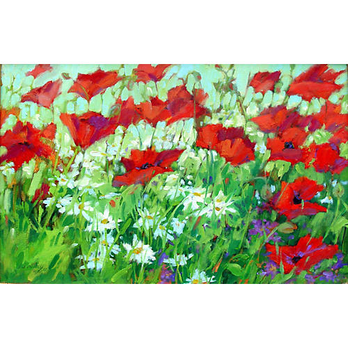 Poppies & Daisies by Jean Perry
