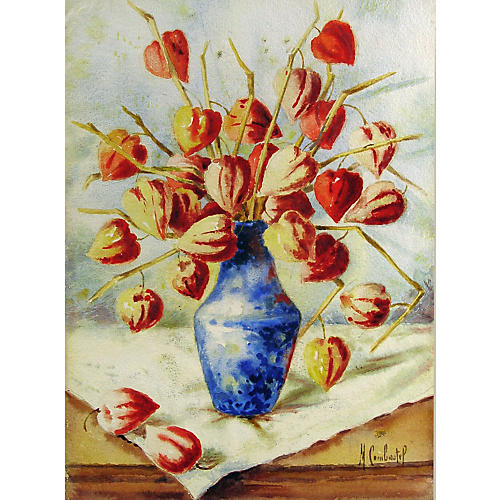 Chinese Lantern Pods in Blue Vase