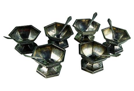 Deco Sterling Silver Open Salts S/6
