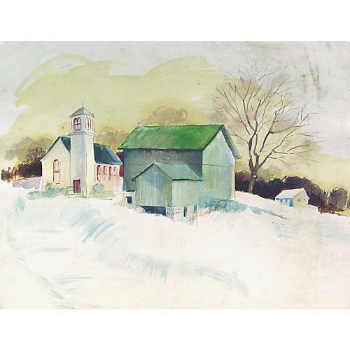 Village Schoolhouse Watercolor